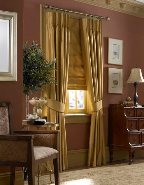 Parisian Pleat Honey Silk Curtain